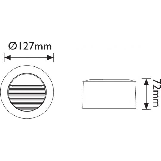 Spot incastrat LED T&G IP65, 14x0.1W, rotund 127 mm, lumina calda