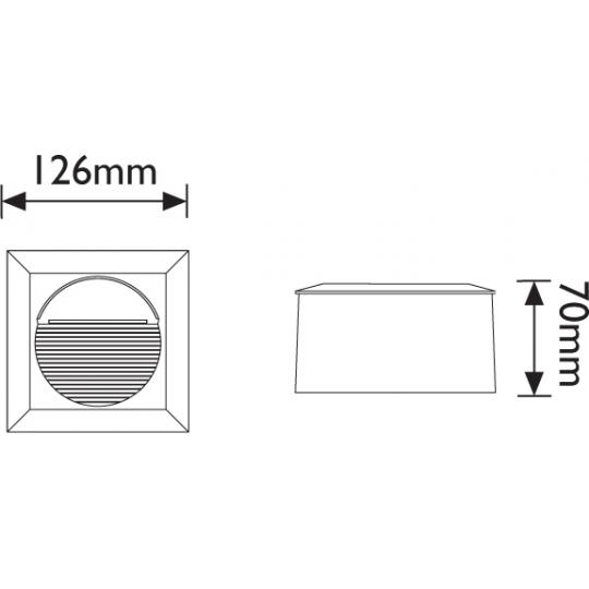 Spot incastrat LED T&G IP65, 14x0.1W, patrat 126 mm, lumina calda