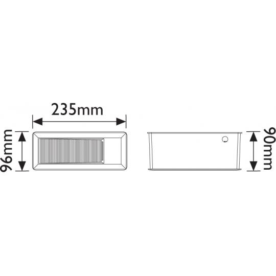 Spot incastrat LED T&G IP65, 15x0.1W, dreptunghiular 235x96 mm, lumina calda