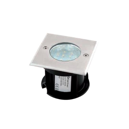 Spot pardoseala incastrat patrat LED 12x0.1W/IP67, lumina alba
