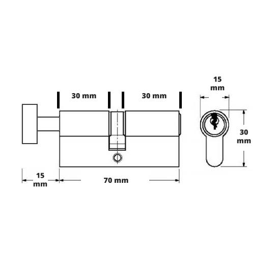 Butuc yala egal 70 mm cu buton