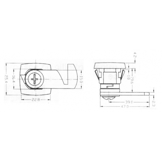 Incuietoare sertar mobilier metalic cama si cilindru 16.5x19.5 mm L47