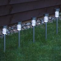 Lampa gradina solara, inox, LED ALB, IP44, H35 Erste