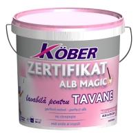 Vopsea lavabila Zertifikat Alb Magic pentru tavane 4 l Kober