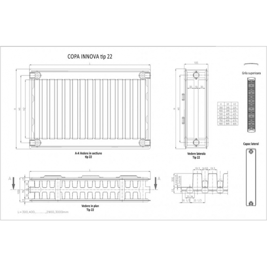 Calorifer otel panel 600x2200x22 Innova Copa