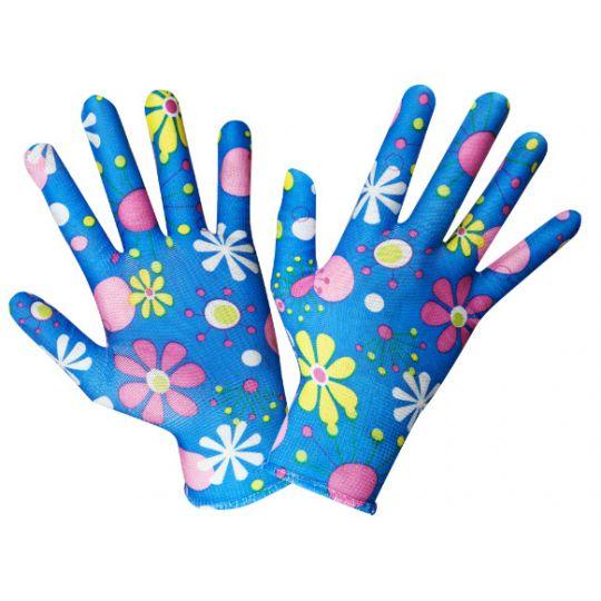 Manusi Gradina Motiv Floral, Albastru, Evo Standard