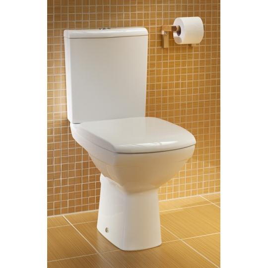 Vas WC compact evacuare verticala Carina, capac duroplast antibacterian, alimentare rezervor lateral
