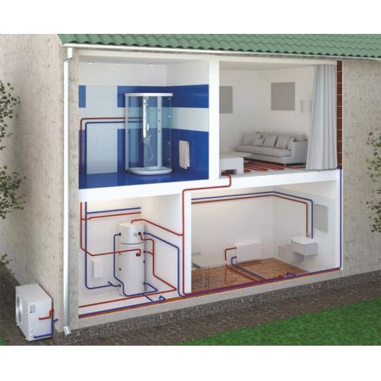 Pompa caldura aer-apa, 8000W, racire+incalzire, boiler 200 litri inox, Eldom Green Line