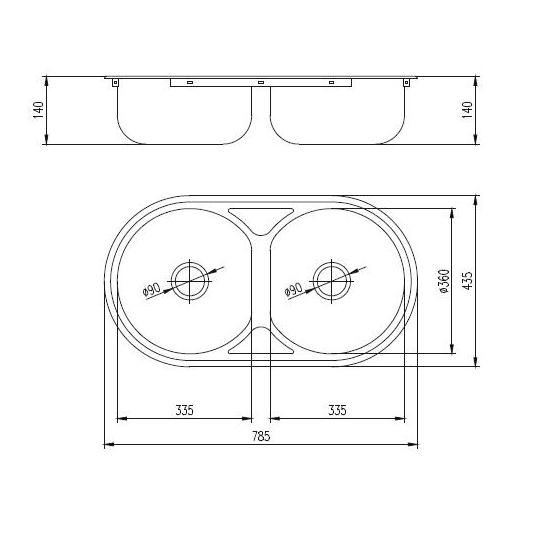 Chiuveta inox 2 cuve pentru blat 43.5x78 cm RONDO cu preaplin FREDDO