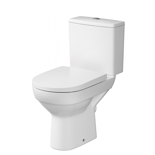Vas WC compact evacuare laterala City,capac cadere lenta, alimentare rezervor lateral Cersanit