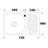 Chiuveta inox pentru blat 73x48 mm anticalcar cu preaplin Cleanmann