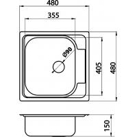 Chiuveta inox blat 48x48 cm anticalcar Cleanmann Platz, sifon inclus, universala