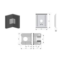 Coltar suspendare mobilier tip L Alb 2 buc/set Samet