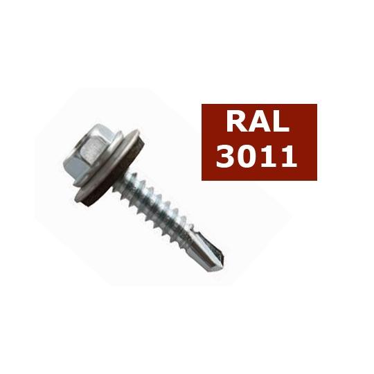 Suruburi autoforante tabla cu saiba cauciuc 4.8x19 - 36 buc, RAL 3011
