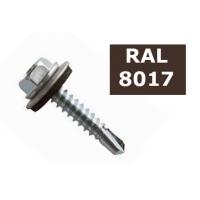 Suruburi autoforante tabla cu saiba cauciuc 4.8x19 - 36 buc, RAL 8017