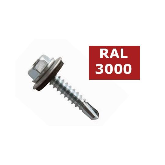 Suruburi autoforante tabla cu saiba cauciuc 4.8x35 - 30 buc, RAL 3000