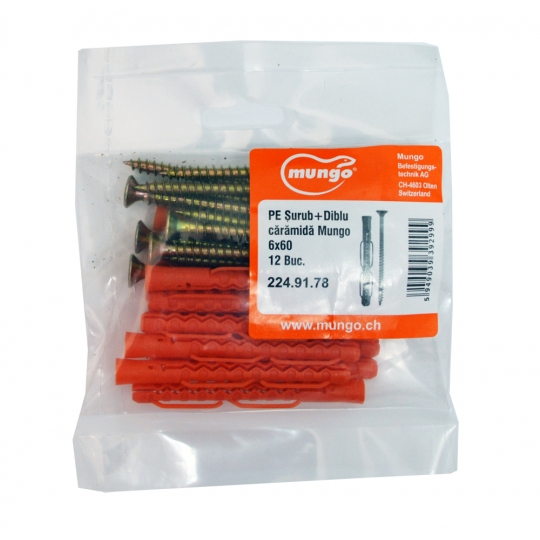 Set fixare Util Mungo pentru zidarie 6x60 Diblu+Surub 12 buc/set