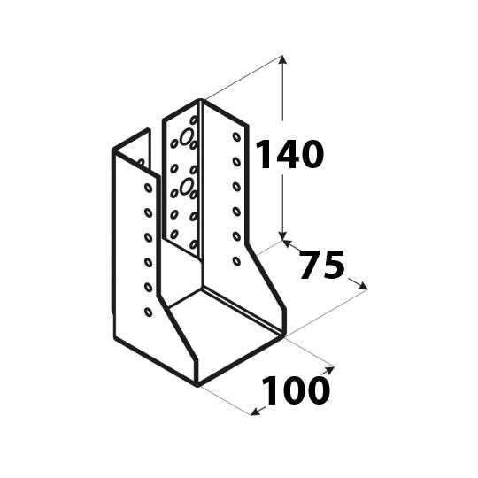 Suport grinzi U tip 2 100x140x2,0 mm Everpro