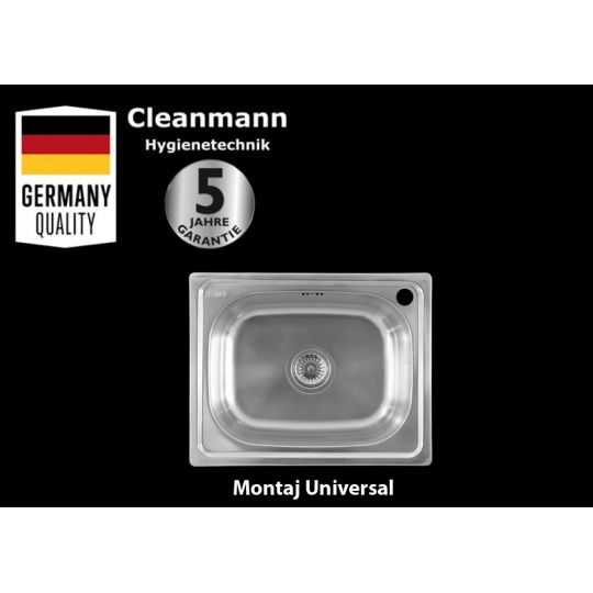 Chiuveta inox pentru blat 50x40 cm lucioasa cu preaplin Cleanmann Tempo Basic
