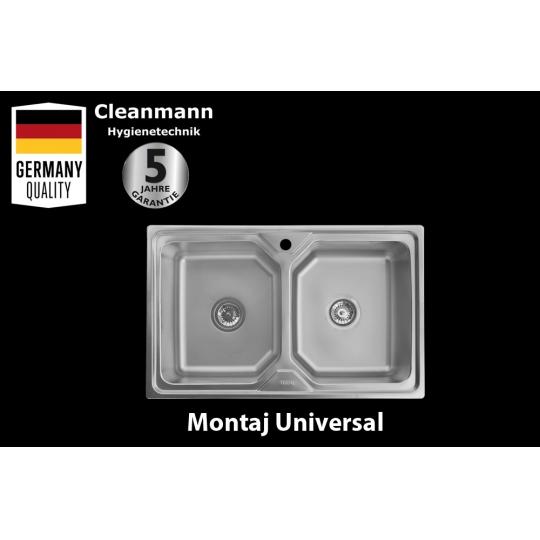 Chiuveta inox 2 cuve pentru blat 80x50 cm anticalcar cu preaplin Cleanmann Tempo
