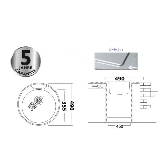 Chiuveta inox pentru blat rotunda 48 cm anticalcar cu preaplin Cleanmann Tempo