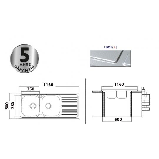 Chiuveta inox 2 cuve pentru blat 116x50 cm anticalcar cu preaplin XTREND Cleanmann Tempo