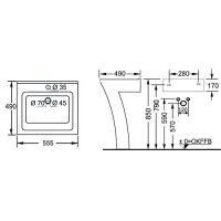 Lavoar Cornat New Wave Seven, 56 cm, cu suport pardoseala, alb