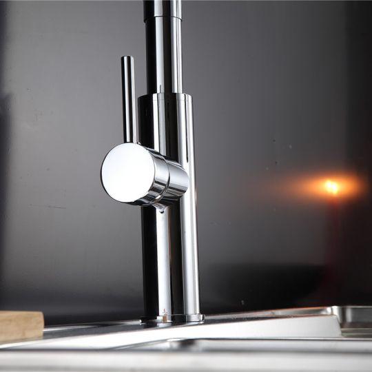 Baterie bucatarie Flex Pull Lineare White Cleanmann