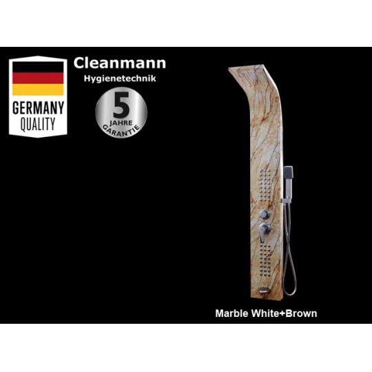 Panou dus hidromasaj inox 4 functii Trendy Marble White+Brown Cleanmann