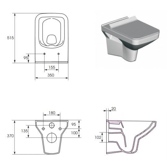 Vas WC suspendat Como Clean On Cersanit (capac separat)