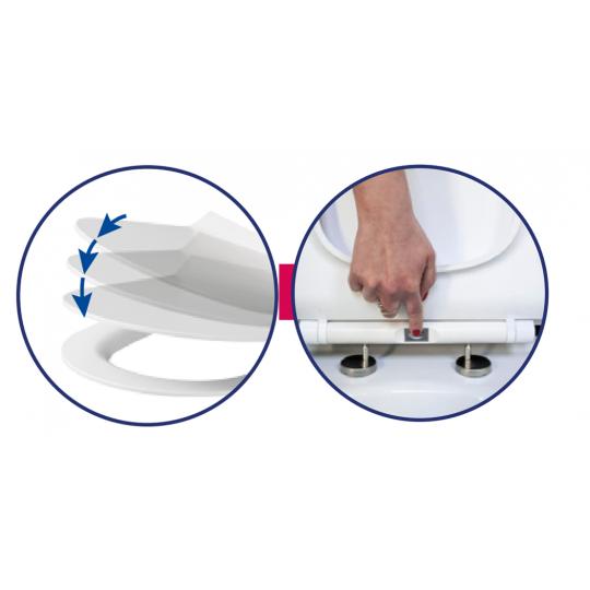 Capac WC Como Slim duroplast antibacterian, cadere lenta Cersanit, demontare rapida Cersanit
