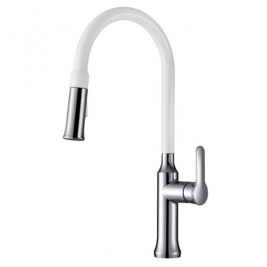 Baterie bucatarie Pull Out Spray Enameled White Cleanmann