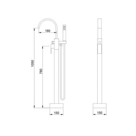 Baterie cada freestanding Charme Square Cleanmann