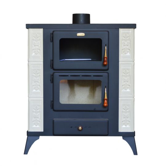 Soba incalzit Prity FMS-RK Elegance 12 kW, laterale teracota Alb, placata Rustic