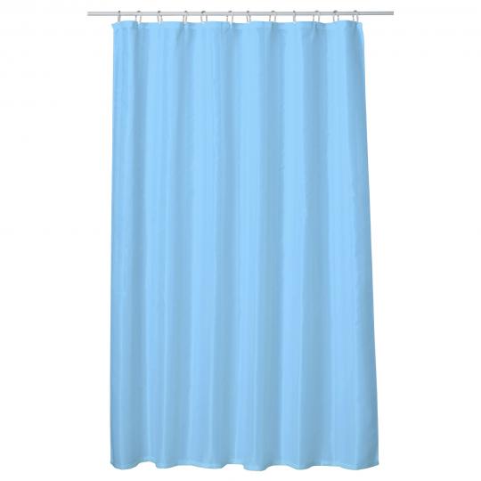 Perdea baie UNI LIGHT BLUE 180x200 cm PEVA, textil Cleanmann + set 12 inele incluse