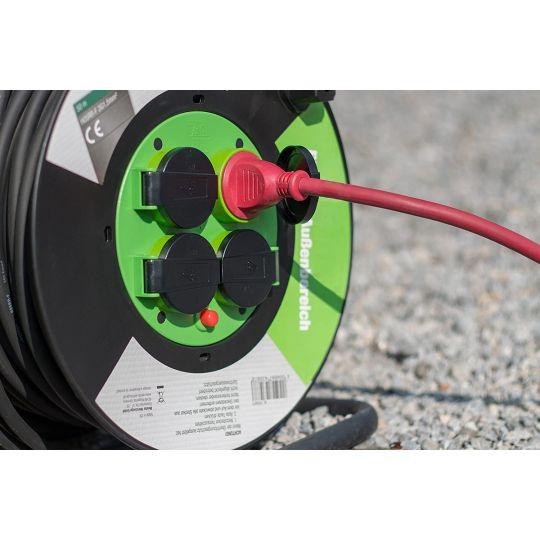 Prelungitor pe tambur 25 m, cablu 3x1.5 mm, H05RR-F3G1,5, IP44 Meister OutDoor