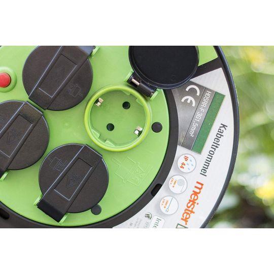 Prelungitor pe tambur 50 m, cablu 3x1.5 mm, H05RR-F3G1,5, IP44 Meister OutDoor