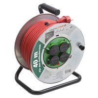 Prelungitor pe tambur 40 m, cablu 3x1.5 mm, H07RN-F 3G 1,5, IP44 Meister Pro Red Metal
