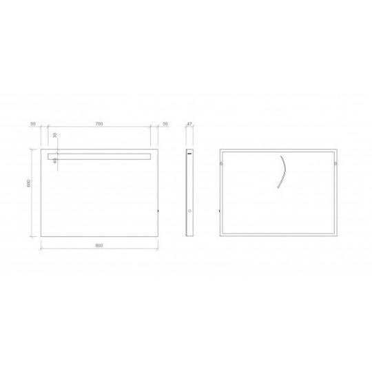 Oglinda baie 80x60 cm cu iluminare LED Metropolitan Opoczno