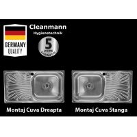 Chiuveta inox pentru blat 40.5x75.5 cm lucioasa cu preaplin Cleanmann Tempo Basic