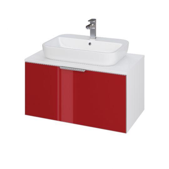 Dulap de baie Cersanit Stillo Red pentru lavoar Caspia Oval/Caspia Square 60