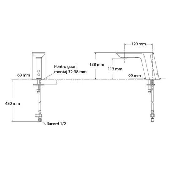 Baterie lavoar senzor Heinrich fara mixer, AC/DC6V Cleanmann