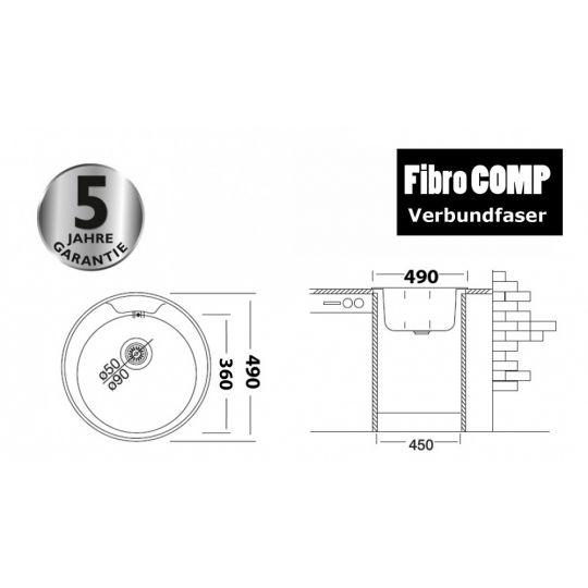Chiuveta tip compozit FibroCOMP, 49 cm, 1 cuva Sand Beige Cleanmann