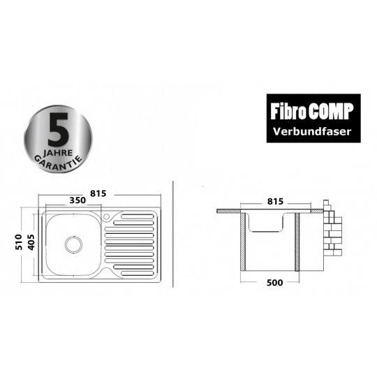 Chiuveta tip compozit FibroCOMP, 815x510 mm, 1 cuva Sand Beige Cleanmann