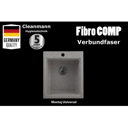 Chiuveta tip compozit FibroCOMP, 505x430 mm, 1 cuva Sand Grey Cleanmann