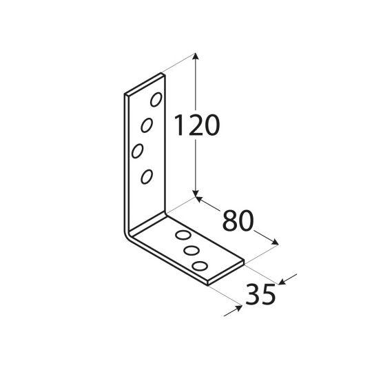 Coltar perforat 90 grade sarcini grele 120x80x35x3.0 mm