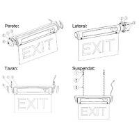Lampa EXIT cu LED 5x0.36W Novelite, tavan sau perete