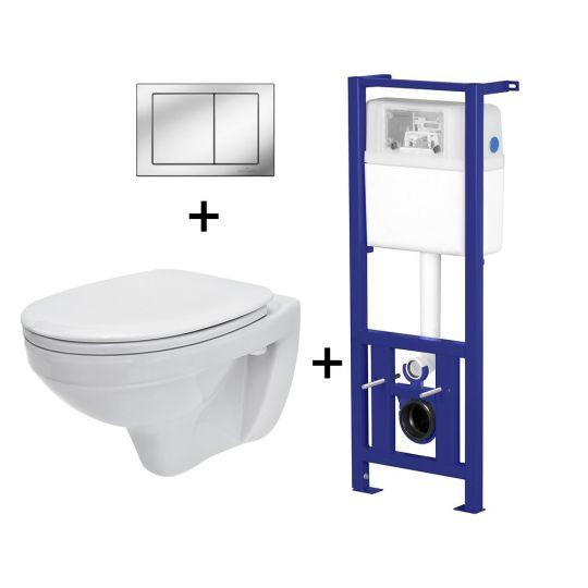 Pachet ALL IN ONE Rubid 536 compus din rezervor incastrat LINK + vas WC suspendat DELFI + capac WC cadere lenta Delfi + clapeta Link crom stralucitor
