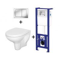 Pachet ALL IN ONE Megan 200 compus din rezervor incastrat LINK + vas WC suspendat ARTECO + capac WC cadere lenta Arteco + clapeta Link crom stralucitor