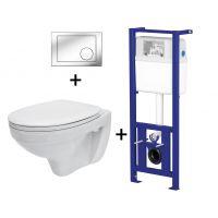 Pachet ALL IN ONE Agis Plus 206 compus din rezervor incastrat LINK + vas WC suspendat DELFI + capac WC cadere PP Delfi + clapeta Link crom stralucitor